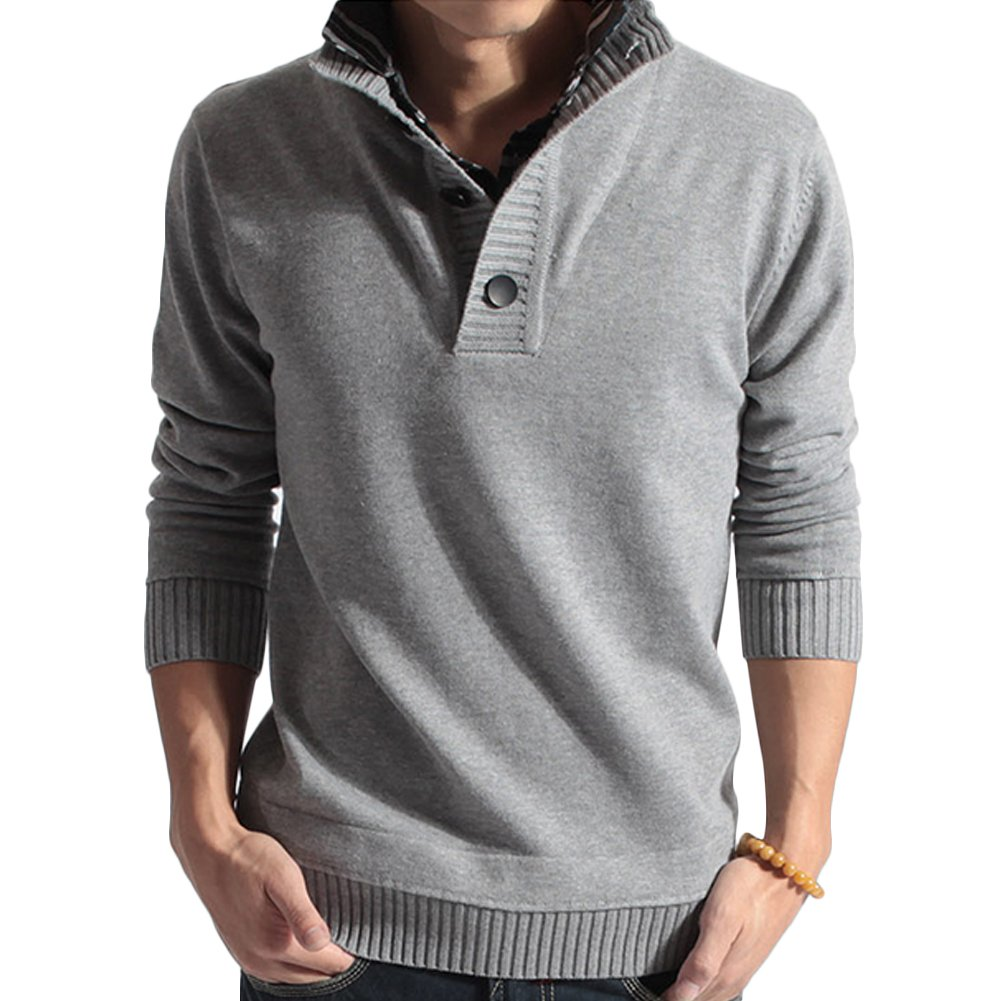 Verypoppa Men's Fake Two-Piece Polo Pullover Sweater Knitwear (US L/Asia Tag XXL, Light Gray)