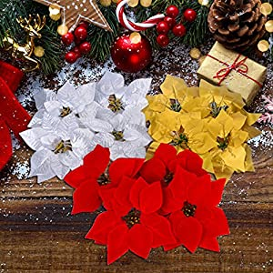 30 Pieces Christmas Flowers Artificial Red Gold Silver Poinsettia for Christmas Tree Basket Wreaths Ornaments,Dia 20 cm / 8 inches 5