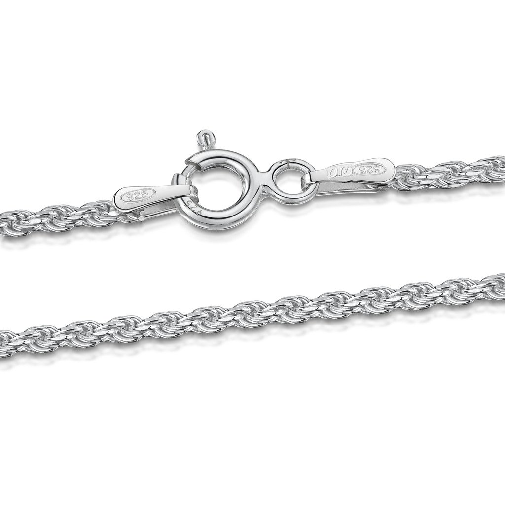Amberta 925 Sterling Silver 1.5 mm Twisted French Rope Chain Size: 16 18 20 22 24 inch BIA-S915-CHAIN-022-150-450