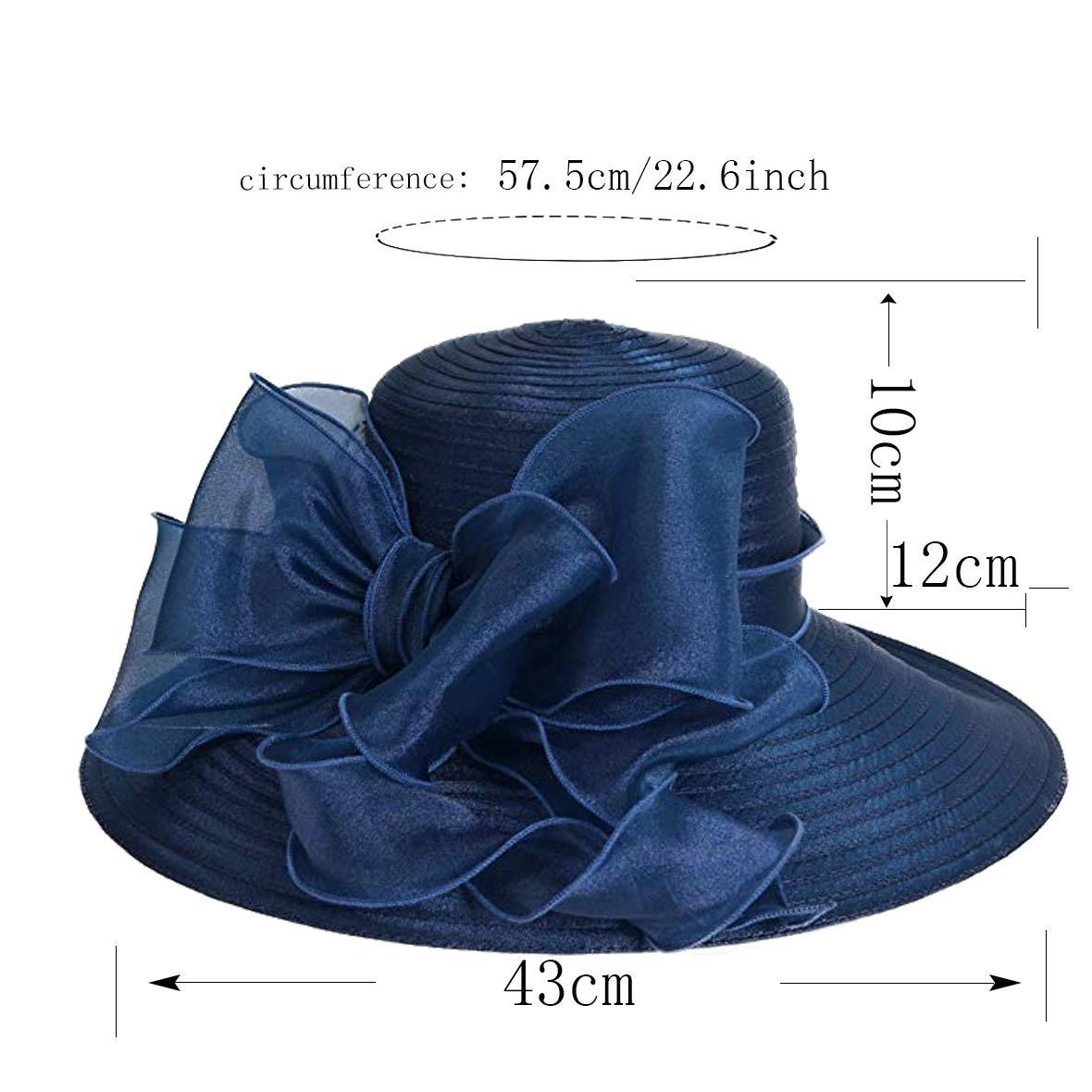 Women Kentucky Derby Church Dress Cloche Hat Fascinator Floral Tea Party Wedding Bucket Hat S052 (S062-Navy) by Ruphedy (Image #2)