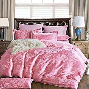 Jacquard continental wedding four set bedding,Queen,10