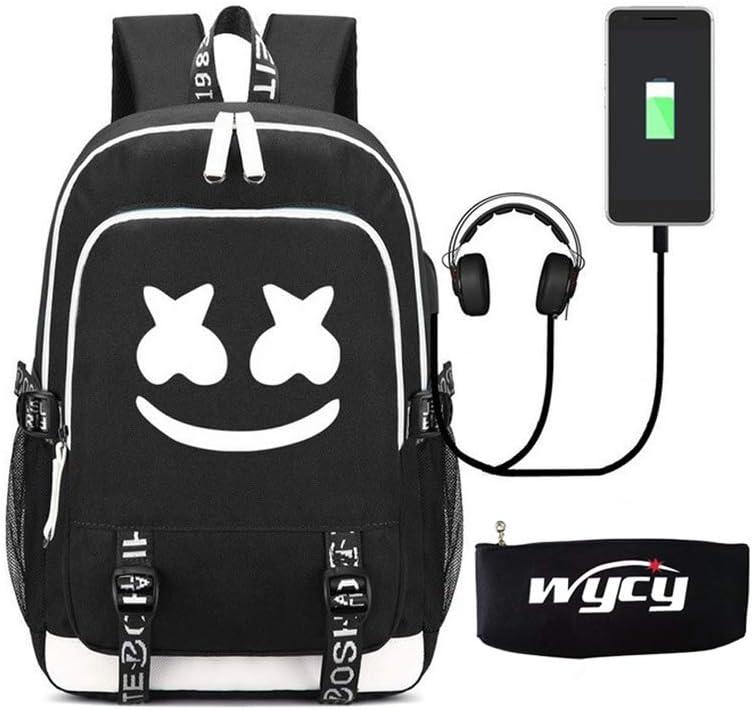 WYCY Mochila Luminosa Marshmello Bolsa para la Escuela Gran Volumen 36L con Puerto de Carga USB y línea de Audio Mochila Escolar Unisex Mochila con Llavero Bordado Colgante (Marshmello)