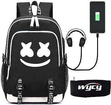 Oferta amazon: WYCY Mochila Luminosa Mochila Escolar de Gran Volumen 36L con Puerto de Carga USB y línea de Audio Mochila Escolar Unisex Mochila con Luminosa Caja de lápices (Marshmello)