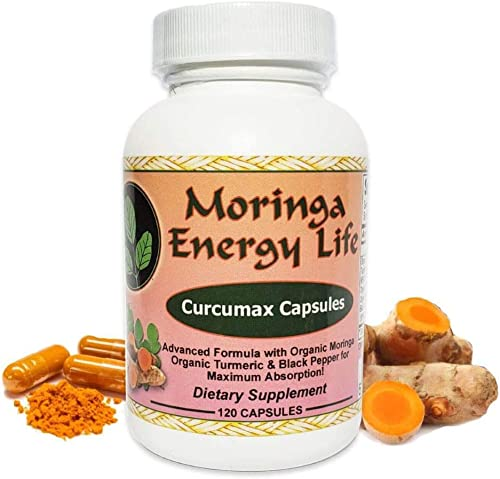 Curcumax – Turmeric Plus Moringa Capsules – 100 Pure and Natural Turmeric with Black Pepper and Moringa Blend in 120 Capsules, 500 mg per Capsule. Vegan and Organic Curcumin, ingest for Vitality.