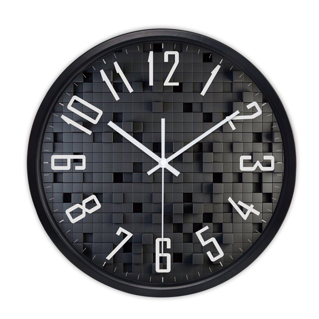 掛け時計 時計の壁時計リビングルームクリエイティブミニマリストモダン時計クォーツ時計ベッドルームミュートファッション時計の時計 Rollsnownow (色 : ブラック, サイズ さいず : 14 inches) B07C8R3CXNブラック 14 inches