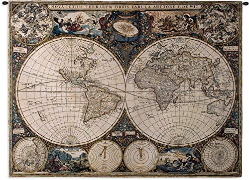 Old World Map by Frederik De Wit Woven Tapestry Wall Art Hanging Vintage Geographic with Antique Motifs 100 Cotton USA Size 53×38