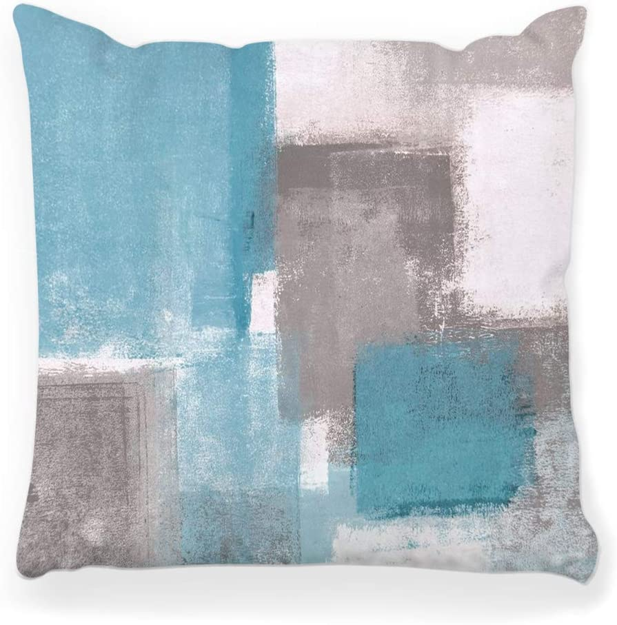 Toobaso Decorative Throw Pillow Cover Square 16x16 Grey Blue Abstract Painting Contemporary Horizontal Interior Lines Modern Teal Abstraction Aqua Home Decor Zippered Pillowcase