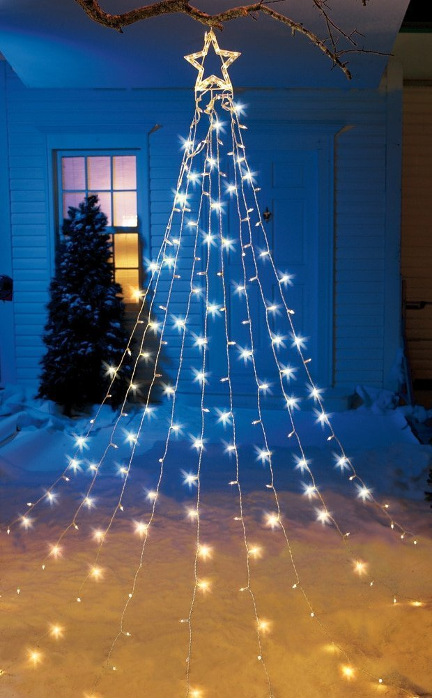 amazoncom string light christmas tree with star garden outdoor - Christmas Stake Lights