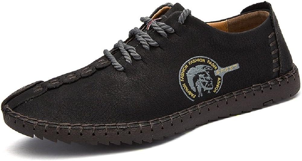 TALLA 38 EU. Zapatos de Cuero de Hombre Casual con Cordones Oxford de Trabajo Negocios Hechos a Mano Negro MarrÓN Caqui 38-46