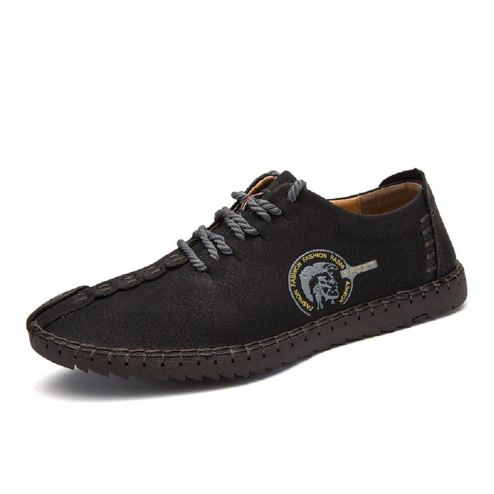 Zapatos de Cuero de Hombre Casual con Cordones Oxford de Trabajo Negocios Hechos a Mano Negro MarrÓN Caqui 38-46