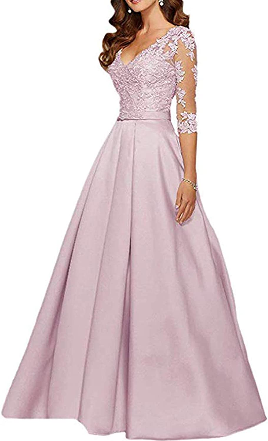 Light Pink Ri Yun Womens V Neck 3 4 Sleeves Prom Dresses Long 2019 Beaded Lace Mother of The Bride Dresses with Pockets