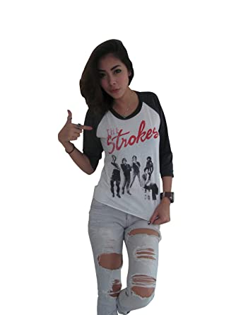 e99e1a2f Amazon.com: BUNNY BRAND Women's The Strokes Group Photo Music Band Rock Raglan  T-Shirt: Clothing