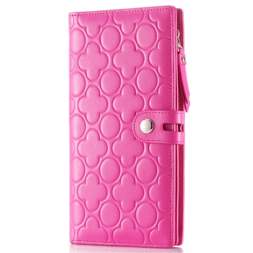 レザージオメトリープリントレディー財布ロングカードパッケージハンドバッグショッピング旅行繊細な多色オプションのファッション バッグ (色 : 紫の) B07MKCXMWS 紫の