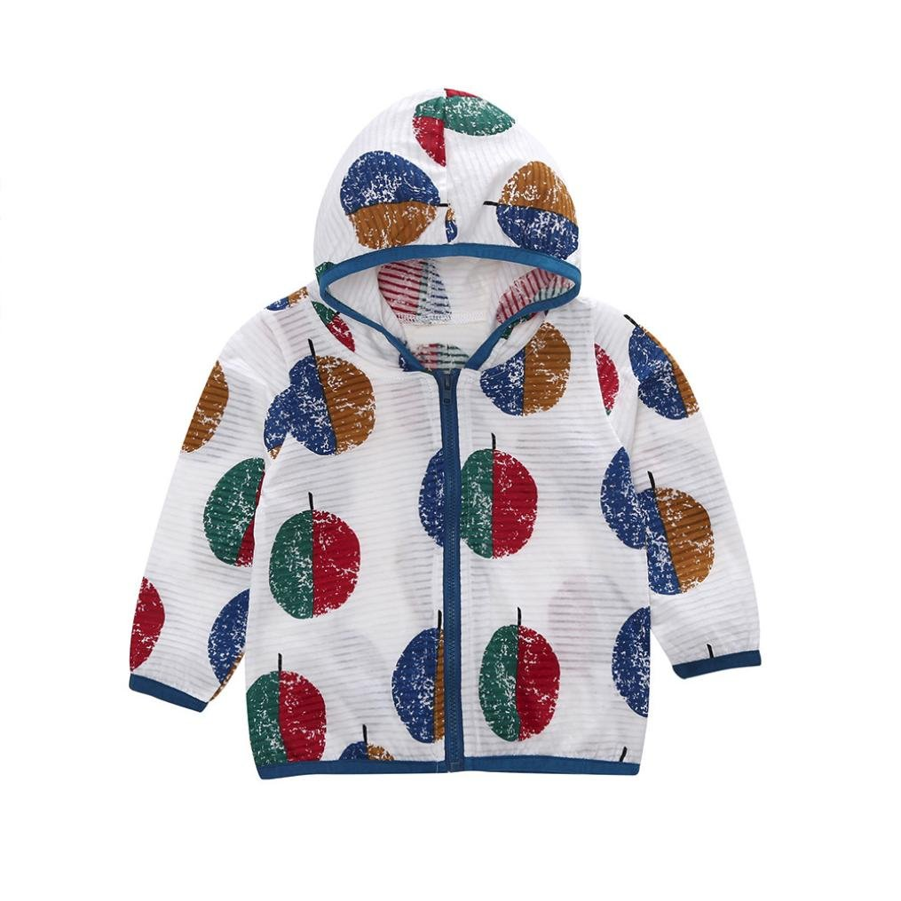 WARMSHOP Unisex Kids UV//Sun Protection Zipper Hoodie Coat Baby Girls Boys Printing Polyester Casual Beach Outerwear Tops