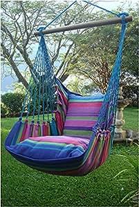 Niños Silla hamaca silla hamaca colgante Columpio asiento para colgar Princesas y Princes Morado Con Dos Almohadas de algodón 100%