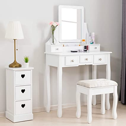 Mecor Vanity Table, Dressing Table w/Square Mirror, Vanity Set Cushioned  Stool&5 Drawers,3 Removable Dividers Bedroom Makeup Table White