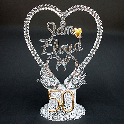 Personalized 50th Wedding Anniversary Cake Topper of Hand Blown Glass with Swans by Prochaska Gallery