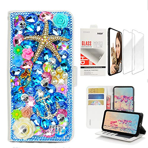 STENES Bling Wallet Case Compatible with LG Stylo 4, 3D Handmade Starfish Mermaid Anchor Flower Design Leather Case with Wrist Strap & Screen Protector [2 Pack] - Navy - Lovely Strap Charm Crystal