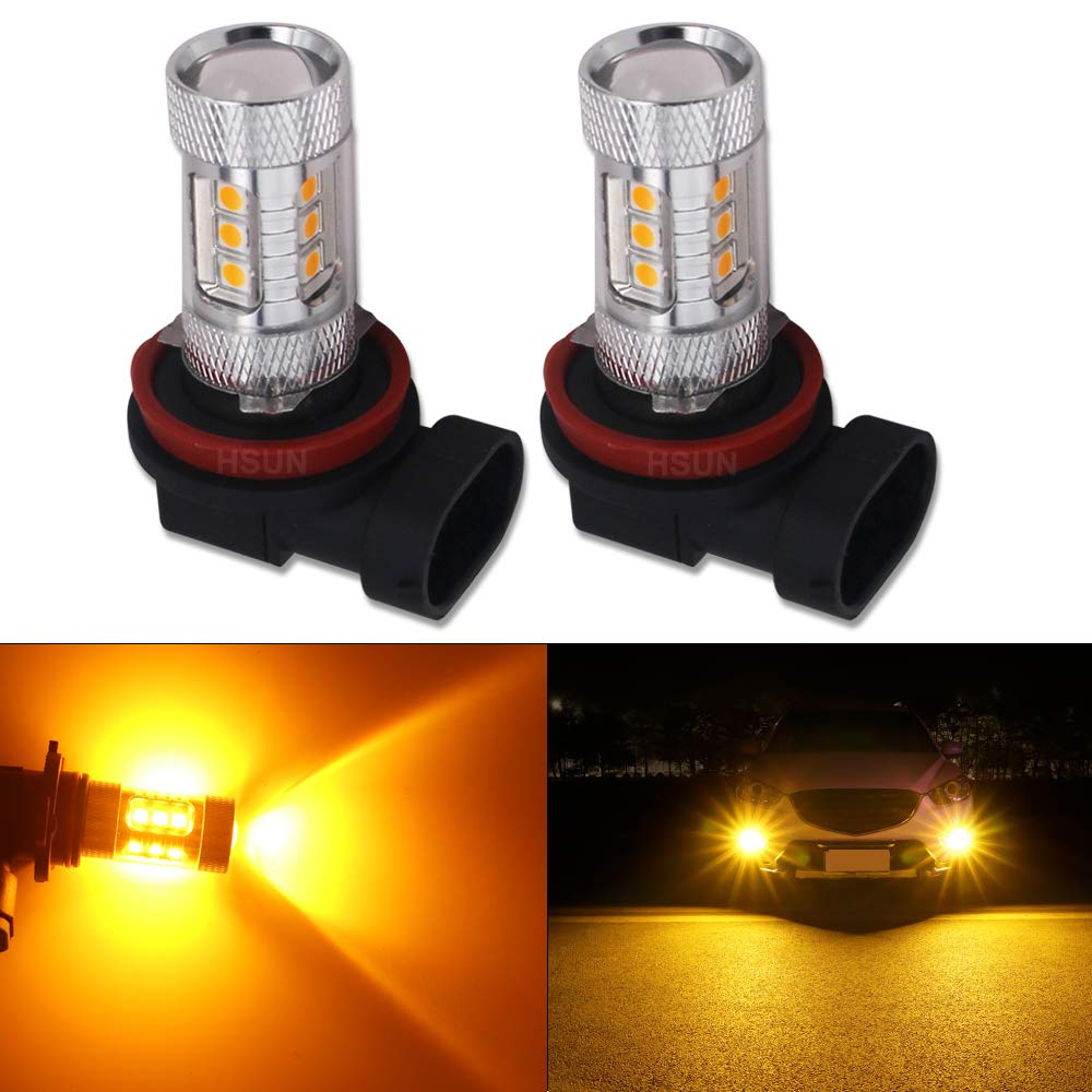 HSUN H11 H8 H9 LED Fog Light Bulb, High Power 16LED 3840LM High Lumen Extremely Bright with Canbus Error Free for Fog Lamp, 12V-24V Wide Voltage, Pack of 2, Gold Yellow