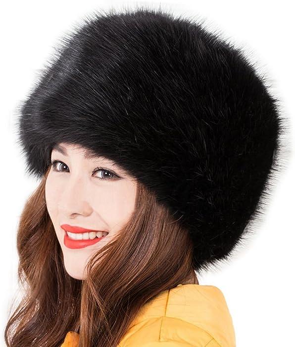 cfcae072 Women's Russian Cossack Style Faux Fox Fur Winter Warm Hat - Black ...