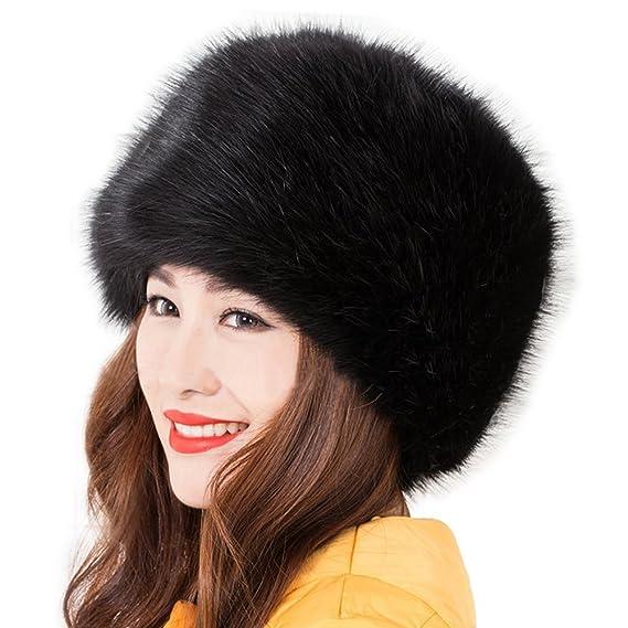 229ff63f0 Katherine Women's Russian Cossack Style Faux Fox Fur Winter Warm Hat (Black)