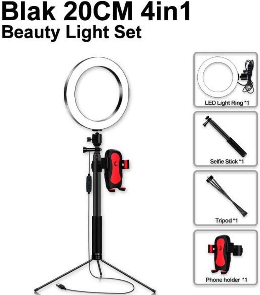 Phone Holder Fill Light Webcast Beauty Light//USB Charging Flashes Color : I DFYYQ LED Floor Ring Light Set with Selfie Stick and Tripod