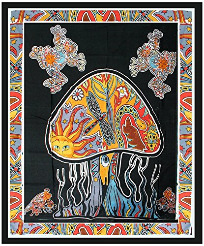 India Psychedelic Mushroom Tapestry