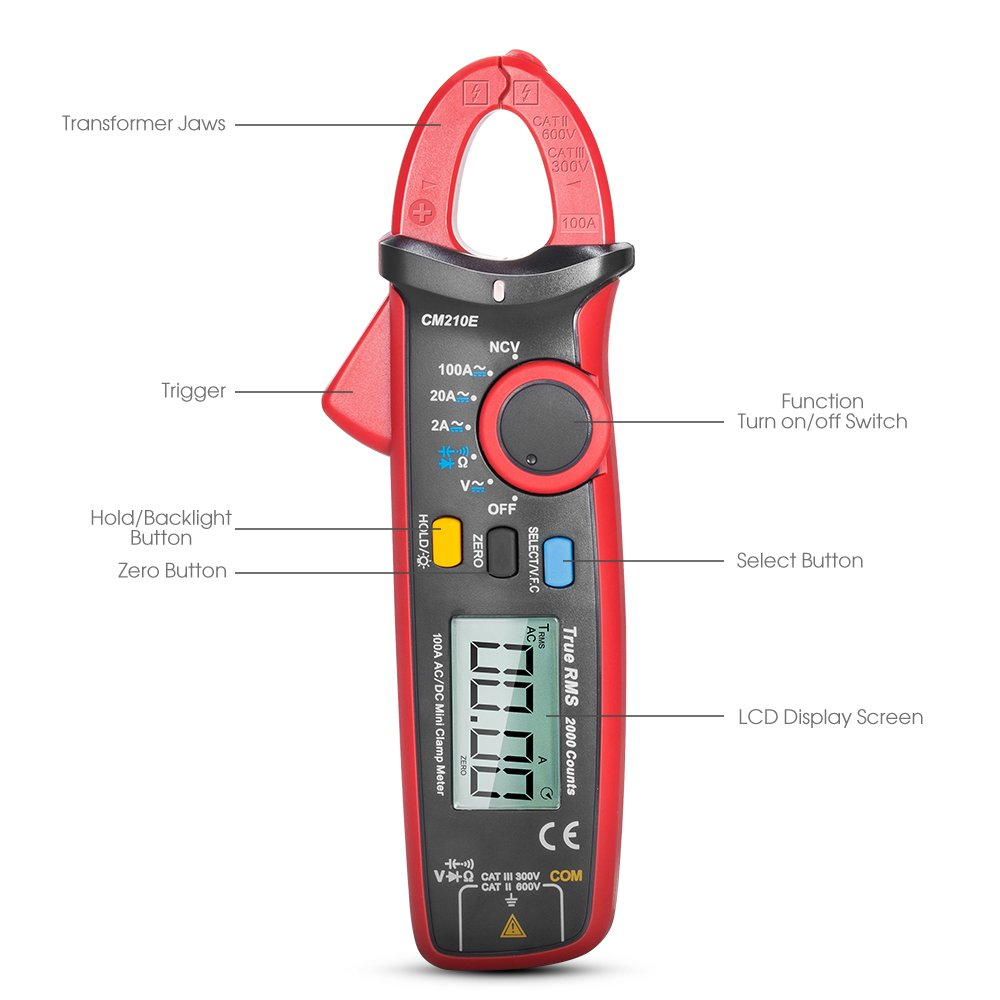 SYNERKY CM210E Digital Clamp Meter 2000 Counts TRUE RMS NCV AC/DC ...