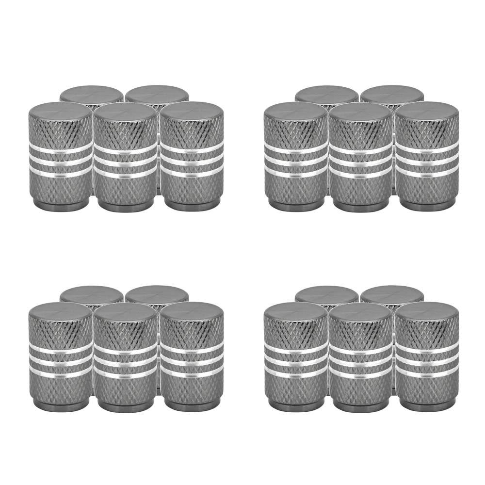 SENZEAL 20x Capuchons De Poussi/ère De Voiture Argent Autour De Roue en Aluminium Pneu Bouchons de Valve Rouge