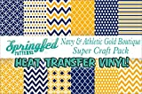 NAVY BLUE & ATHLETIC GOLD HTV Boutique Patterns SUPER PACK! 12 Pieces 12x12 Pattern Heat Transfer Vinyl for Shirts