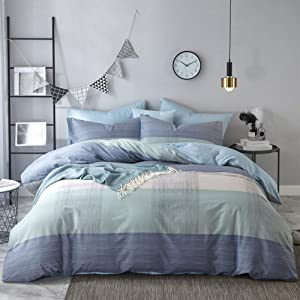 HIGHBUY Soft Cotton Striped Twin Duvet Cover Set Kids Comforter Cover Twin Men 3 Pieces Geometric Plaid Bedding Sets Reversible Grey Green Comforter Duvet Cover Set for Teens Boys Twin Bedding