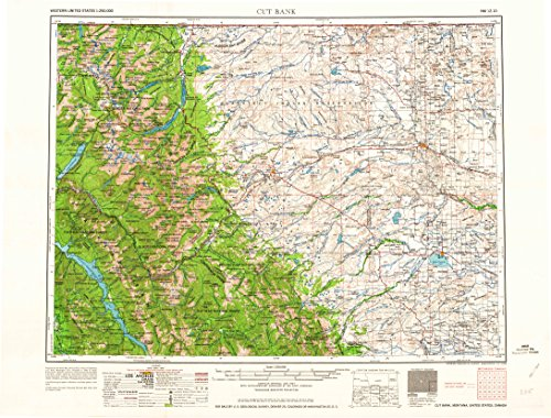Cut Bank Mt Topo Map  1 250000 Scale  1 X 2 Degree  Historical  1964  22 1 X 29 1 In   Paper
