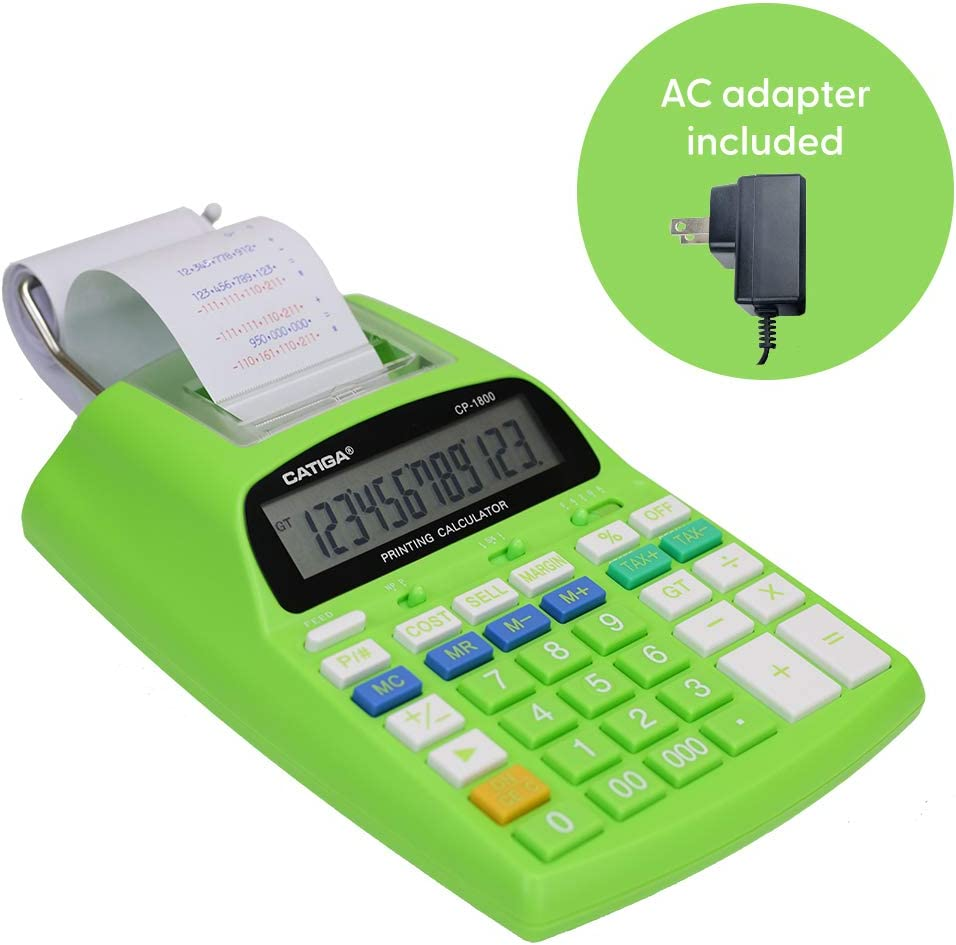 with AC Adapter Catiga 12-Digit Desktop Commercial Printing Calculator with Tax Functions CP-1800 for Home//Office Green Two Color,2.03 Lines//sec