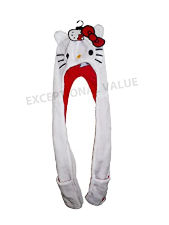47c4df7b7 HELLO KITTY GIRLS 3 IN 1 HAT SCARF AND GLOVE POUCH 8-12 YEARS EX-STORE:  Amazon.co.uk: Clothing