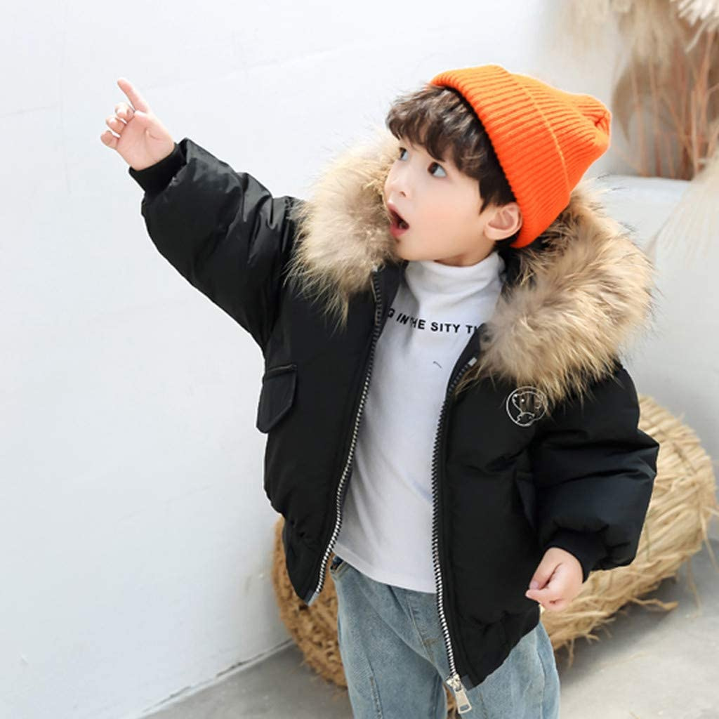 Moonker-Baby Tops Toddler Boys Girls Kids Winter Clothes Hooded Zipper Warm Jackets 2-7 Years Children Solid Outerwear Coats