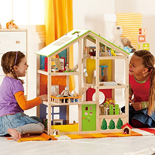 Hape All Seasons Kid's Wooden Doll House Furnished with Accessories by Hape (Image #6)