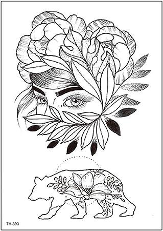 Tzxdbh 2pcs Nouveau Bras De Fleur Croquis De Tatouage Noir
