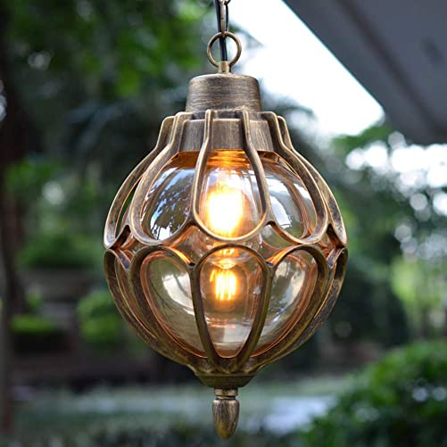 Outdoor Hanging Lamp Lantern, Waterproof Pendant Lighting Fixture in Painted Metal with Glass Globe, Exterior Ceiling Light for Porch, Entryway,Restaurant 9.1 Gold
