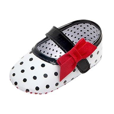 Newborn Baby Girls Crib Prewalker Dot Bowknot Soft Sole Anti-slip Sneakers Shoes