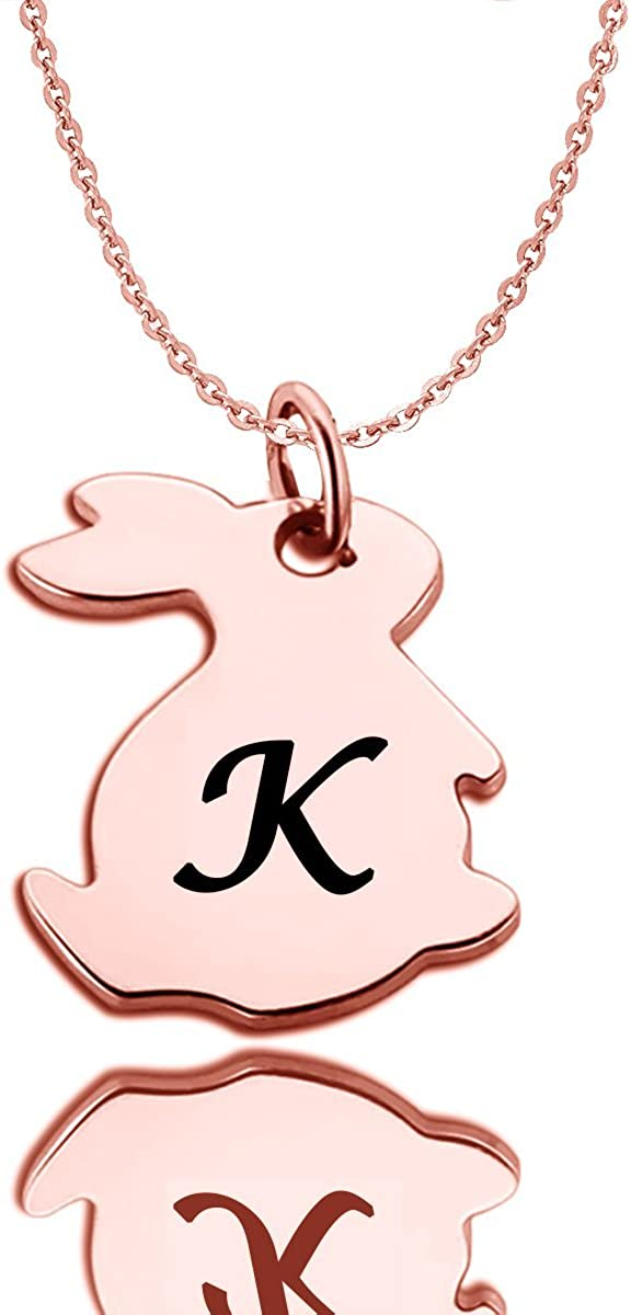HACOOL 925 Sterling Silver Personalized Tiny Rabbit Initial Charm Necklace Custom Made with Any Initials