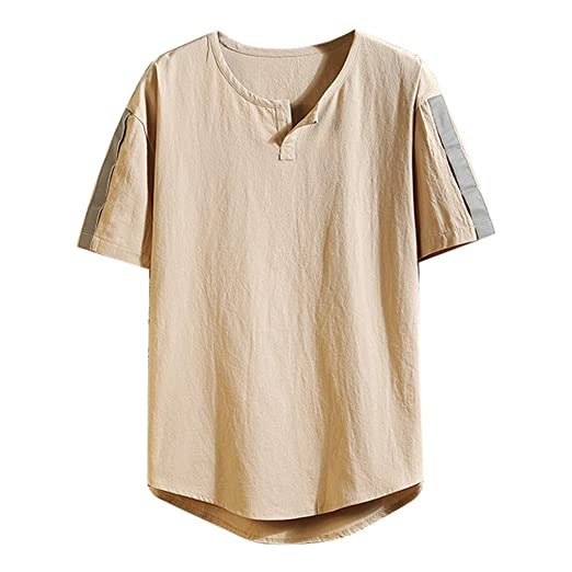 6899fe012e4 Amazon.com: Men's Henleys,Hipster Hip Hop Tops Short Sleeves Blouse Flowy  Loose Shirts Relaxed Fit Tunic Summer Solid Tee: Clothing