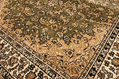 Feraghan Sage Green Traditional Isfahan Wool Persian Area Rugs Rug 4018