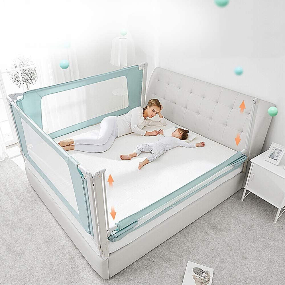 Bed guardrail|Crib Juvenile Bed|Metal Frame and Fabric Cover|Fold Down|Applicable to All mattresses|Slip Resistant 5 Sizes 120-220 cm Size : 180cm