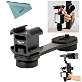 Ulanzi PT-3 3 in 1 Triple Hot Shoe Mount Adapter Converter BY-MM1 Microphone Stand Bracket LED Video Light Holder for Zhiyun Smooth 4/Smooth Q for DJI OSMO mobile 2 for Moza Mini-MII