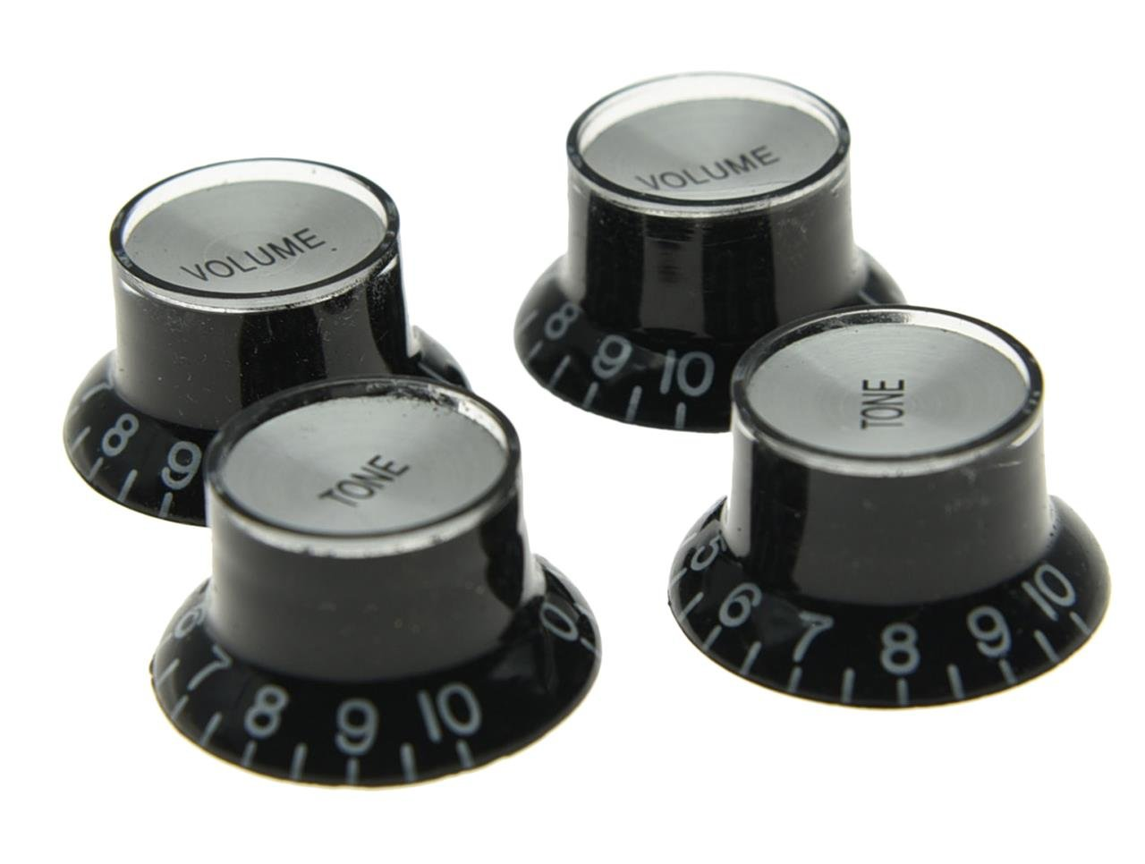 Dopro Set of 4 LP Guitar Reflector Knobs Black with Chrome Cap Top Hat Knobs For SG Epiphone Les Paul by DOPRO (Image #2)