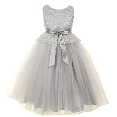 33dac0ae9e7e KiKi Kids USA Big Girls Silver Lace Tulle Charmeuse Special Occasion Flower  Girl Dress 8