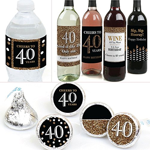 (Big Dot of Happiness Adult 40th Birthday - Gold - Birthday Party Decorations & Favors Kit - Wine, Water and Candy Labels Trio Sticker Set)