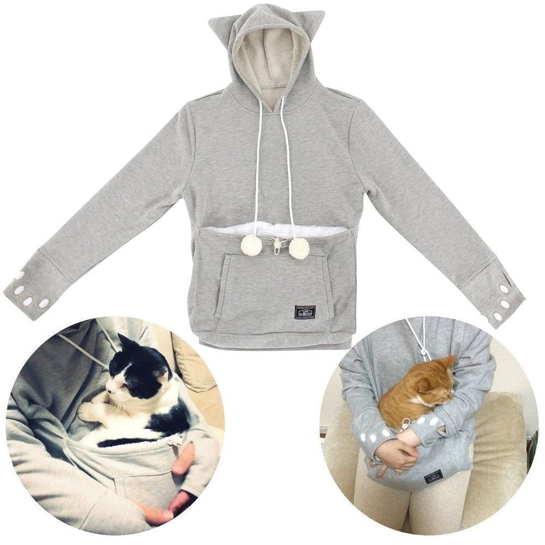 Amazoncom Mewgaroo Japanese Style Hoodie Big Kangaroo Pouch For - Hoodie with kangaroo pouch is the perfect cat accessory