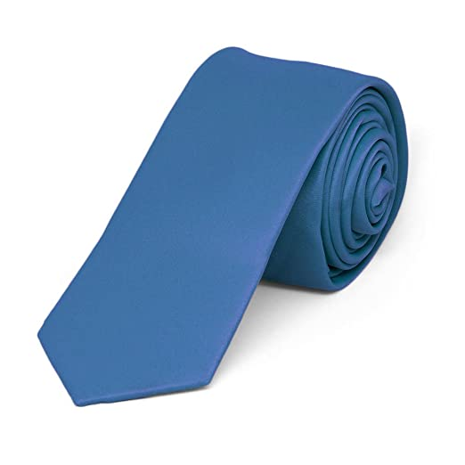 1c582b2800e6 Image Unavailable. Image not available for. Color: TieMart Blue Extra Long  Skinny Solid Color Necktie ...