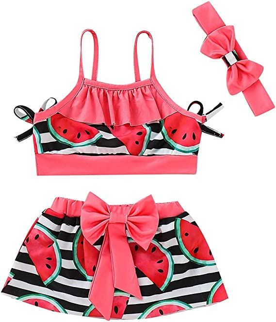 JERFER Kinder M/ädchen Sommer Badeanzug Blatt Drucken Bikini Badebekleidung